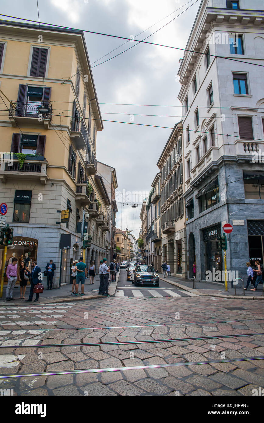 Milan, italy, July 14th, 2017: Via Montenapoleone street in Milan, with people around at day time. This is a high Stock Photo
