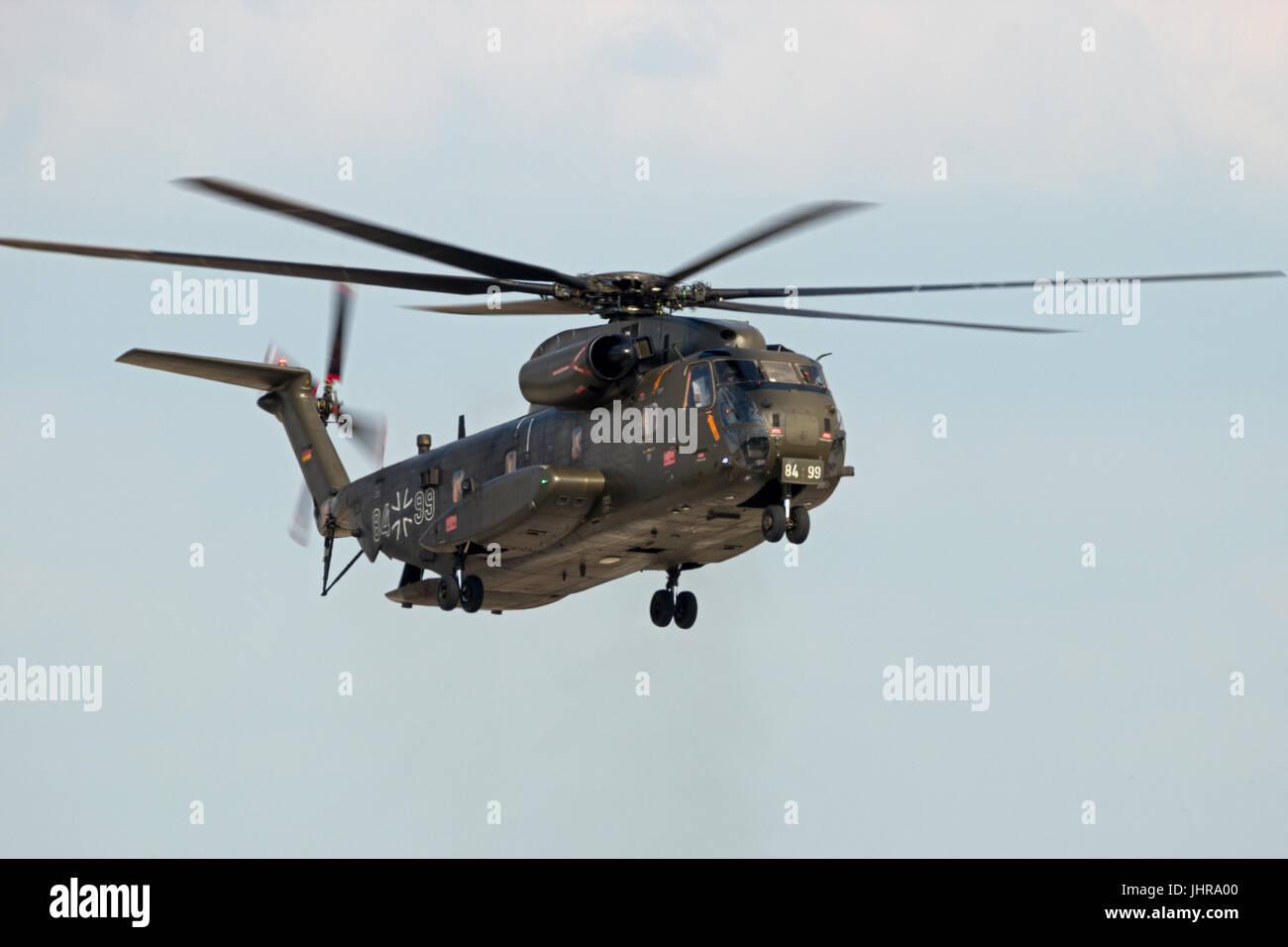 BERLIN - JUN 2, 2016: German Atrmy Sikorsky CH-53 Stallion heavy transport helicopter landing on Berlin-Schoneveld - Stock Image