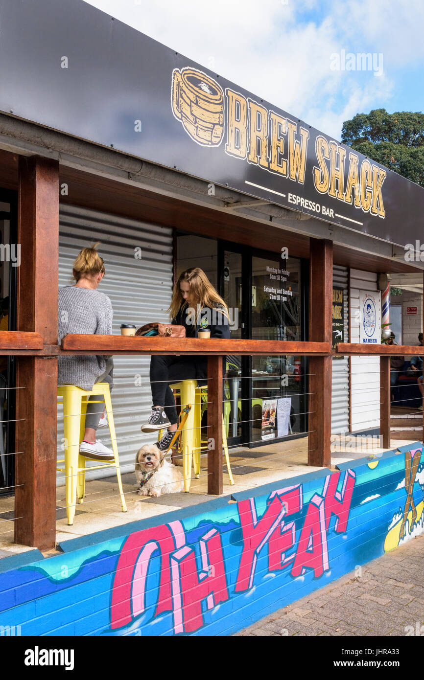 Brew Shack coffee shop in the centre of Margaret River Town, Western Australia - Stock Image