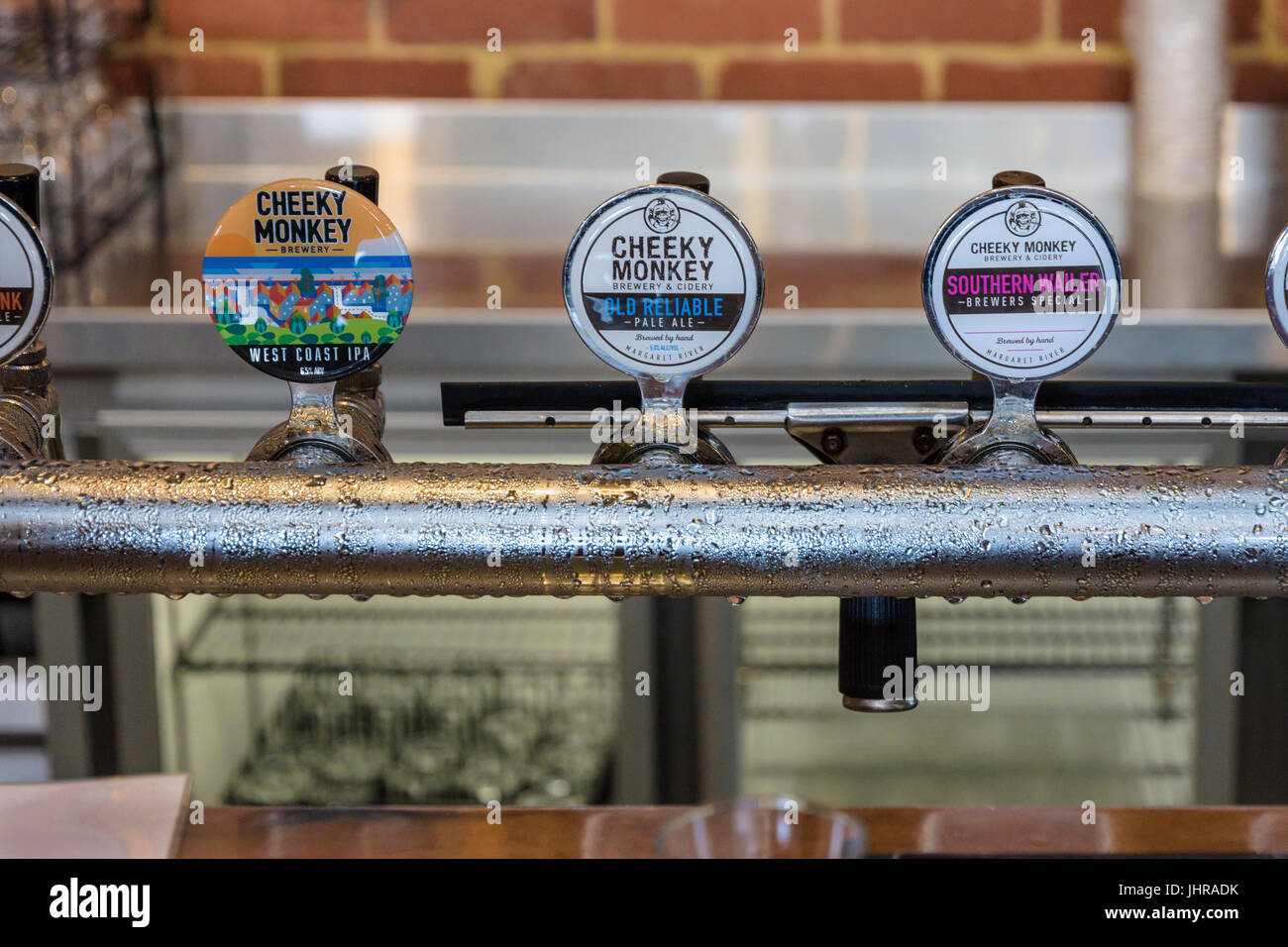 Beer taps detail at the Cheeky Monkey Brewery, Wilyabrup, Western Australia - Stock Image