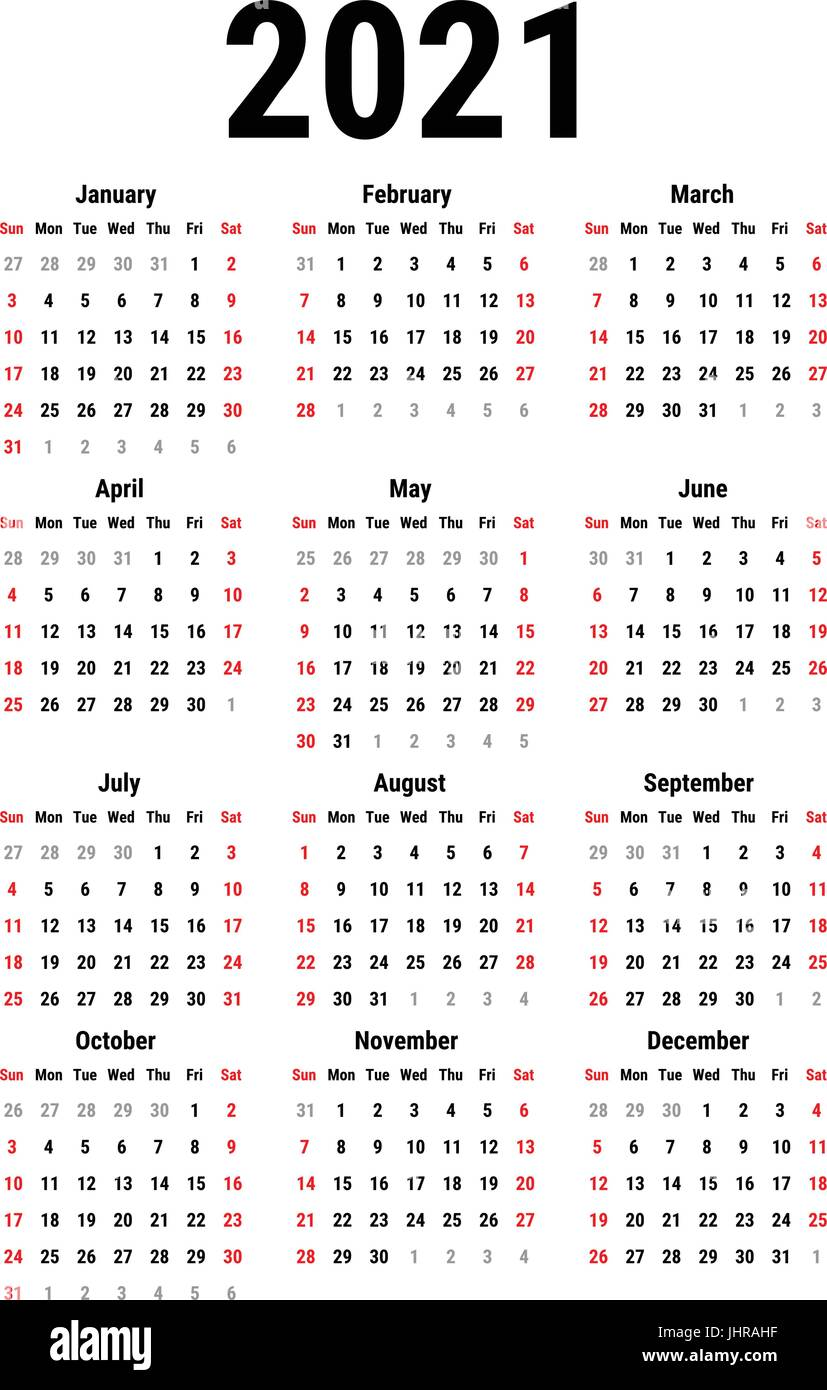 Calendar for 2021 Stock Vector Image & Art   Alamy