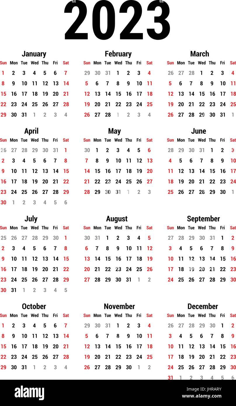 Uci 2022 2023 Calendar.Calendar For 2023 Stock Vector Image Art Alamy