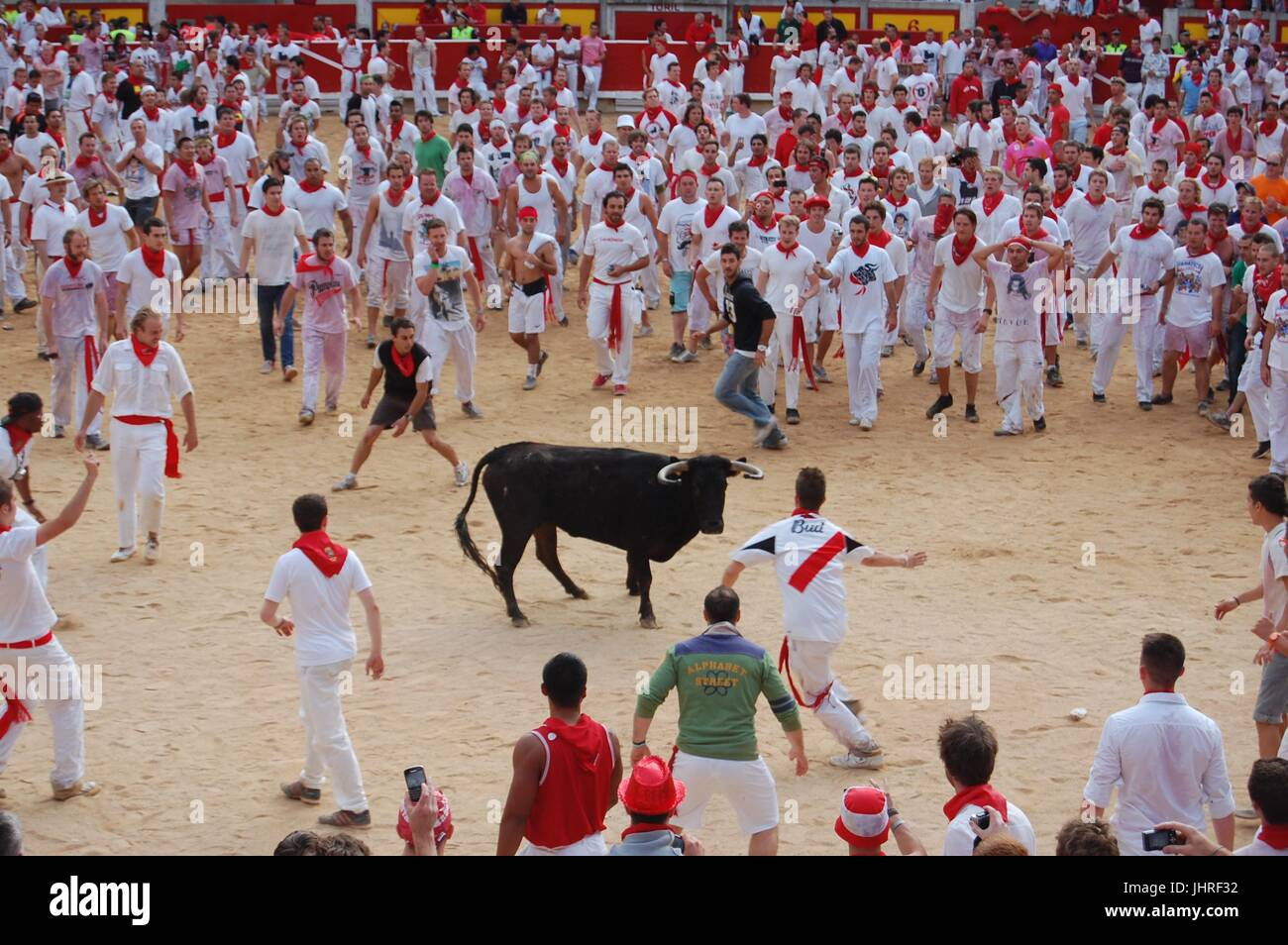 The Plaza after the Running of the Bulls in Pamplona Spain Stock Photo