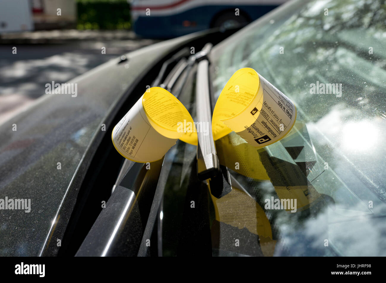 ticket for parking violation on a vehicle in Trondheim, Norway - Stock Image