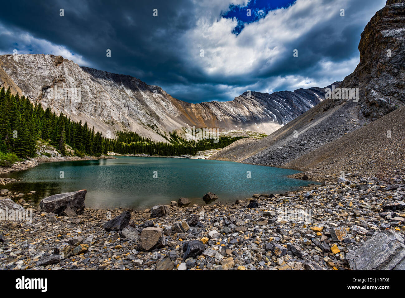 Beautiful mountain landscapes from hiking the Pickle Jar Lakes area of Kananaskis Country Alberta in the Canadian Stock Photo