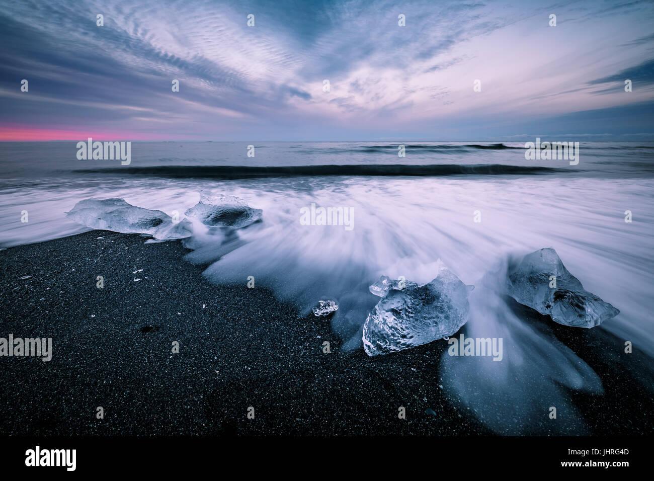 DIamond Beach in Hofn Iceland - Stock Image