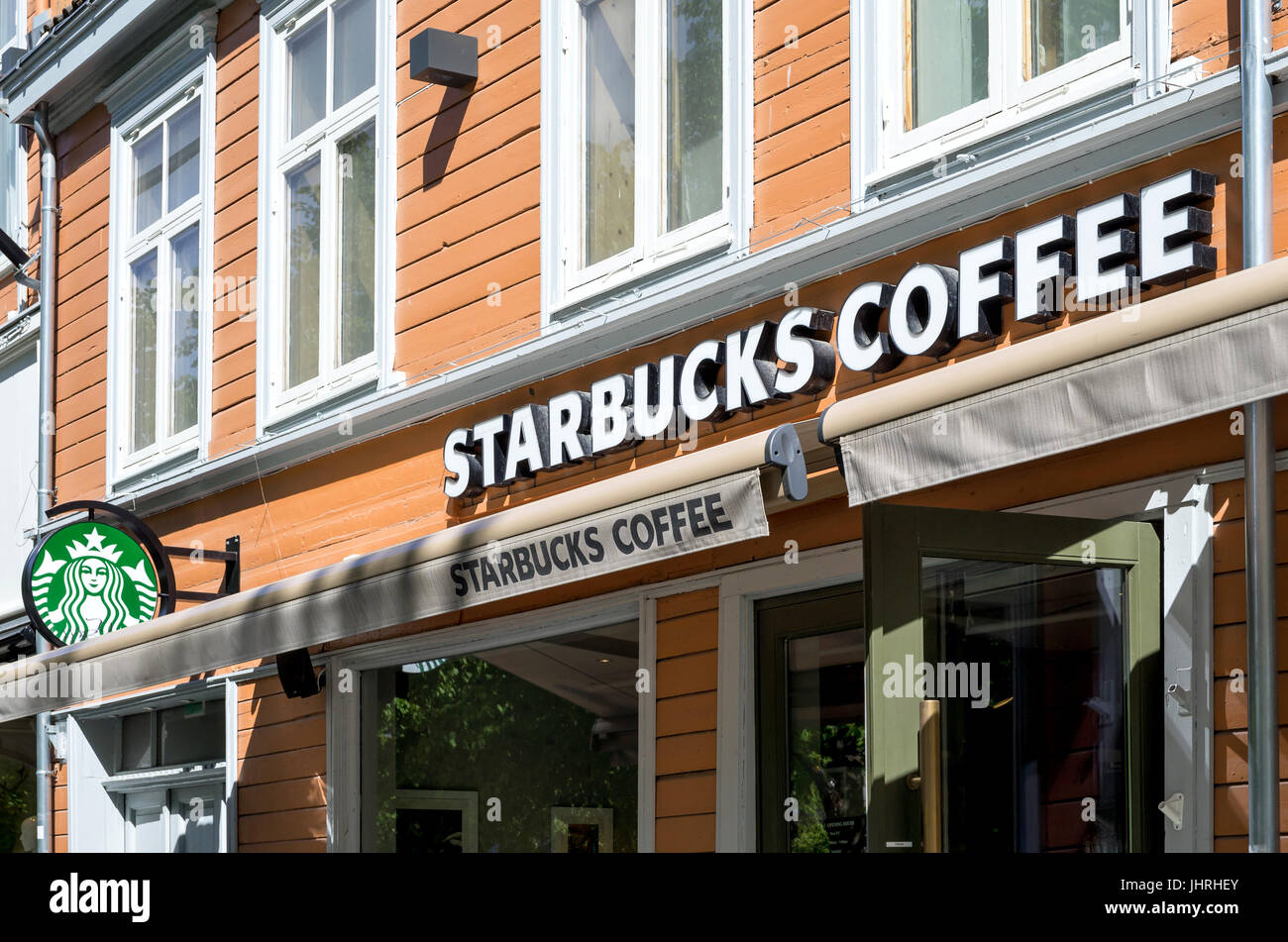 Starbucks coffeehouse in Trondheim. Starbucks Corporation is an American coffee company and coffeehouse chain, headquartered - Stock Image