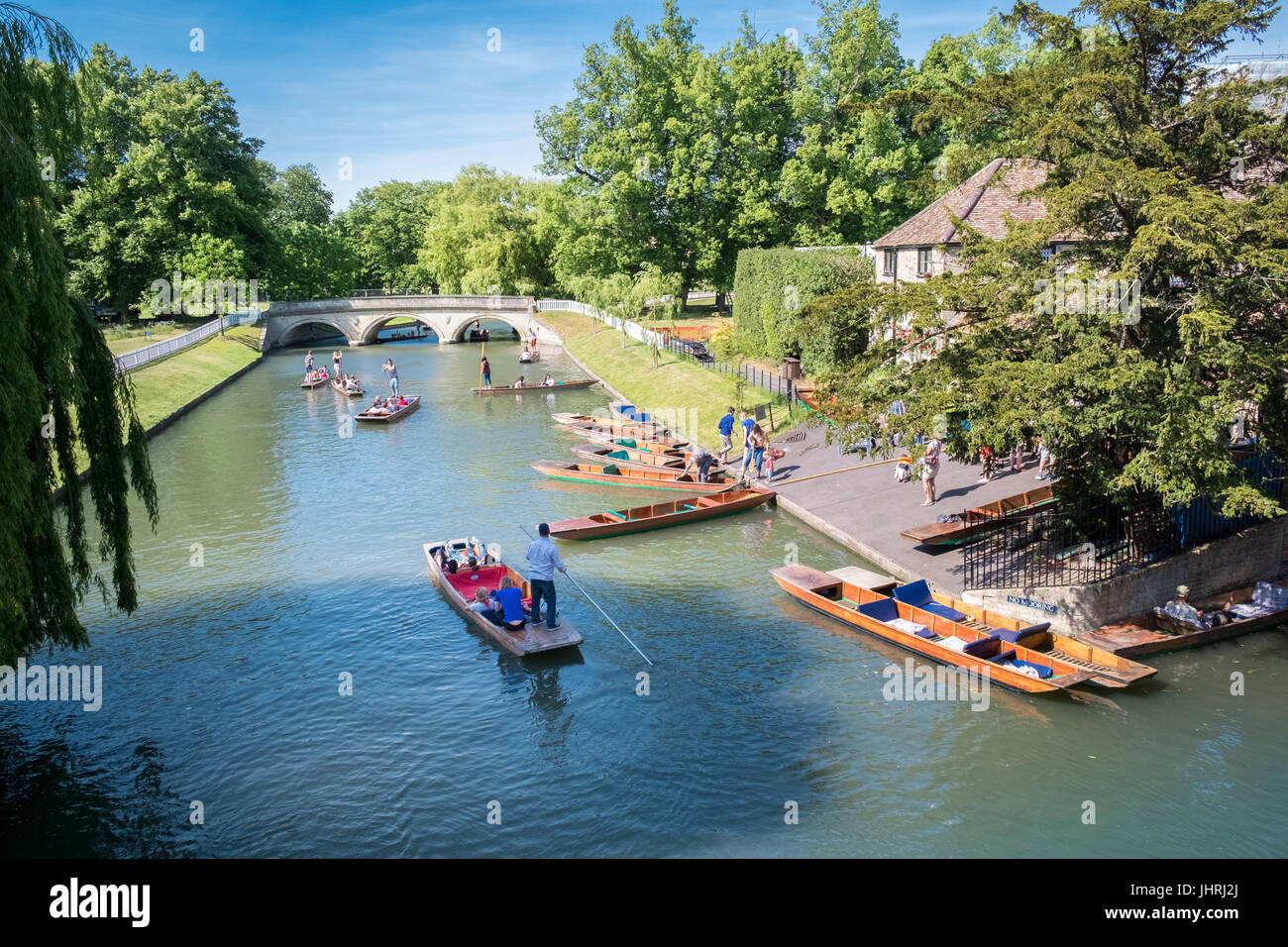 Punting on the River Cam, Cambridge, Cambridgeshire, England UK - Stock Image