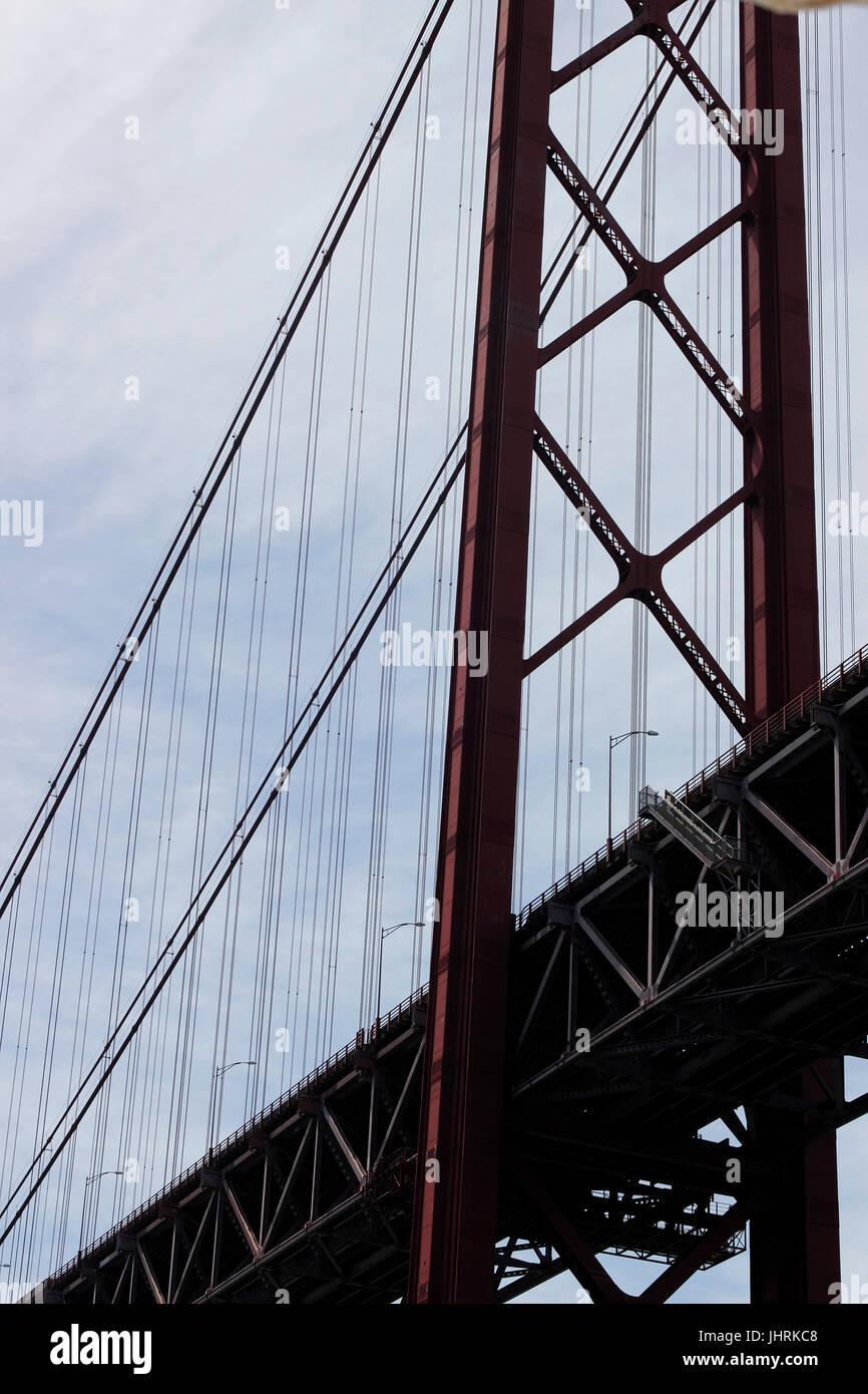 Detail of a bridge stanchion Ponte 25 de Abril Bridge Lisbon Portugal Stock Photo