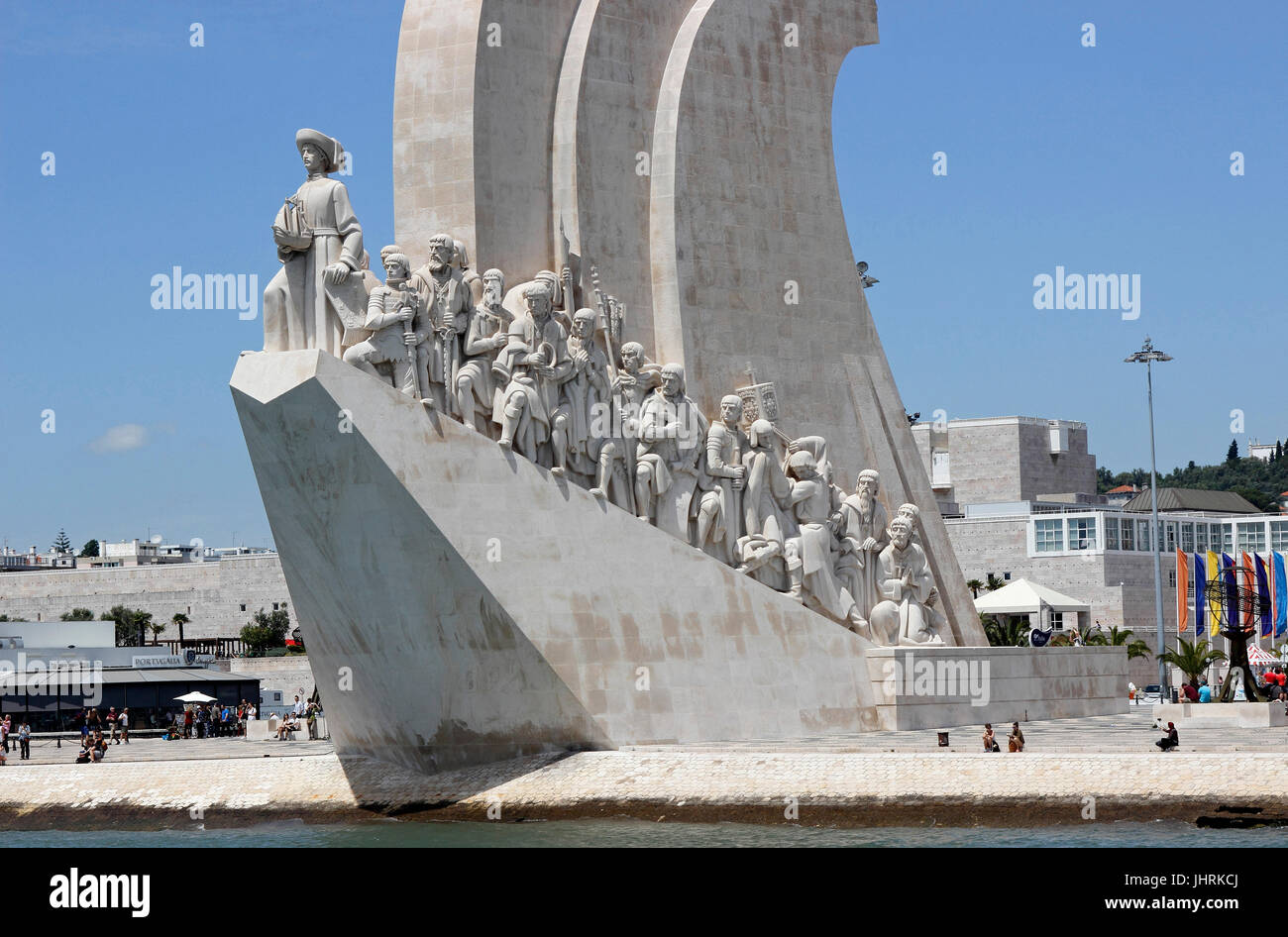 Monument to the Discoveries on the Tagus River Lisbon harbor Portugal - Stock Image