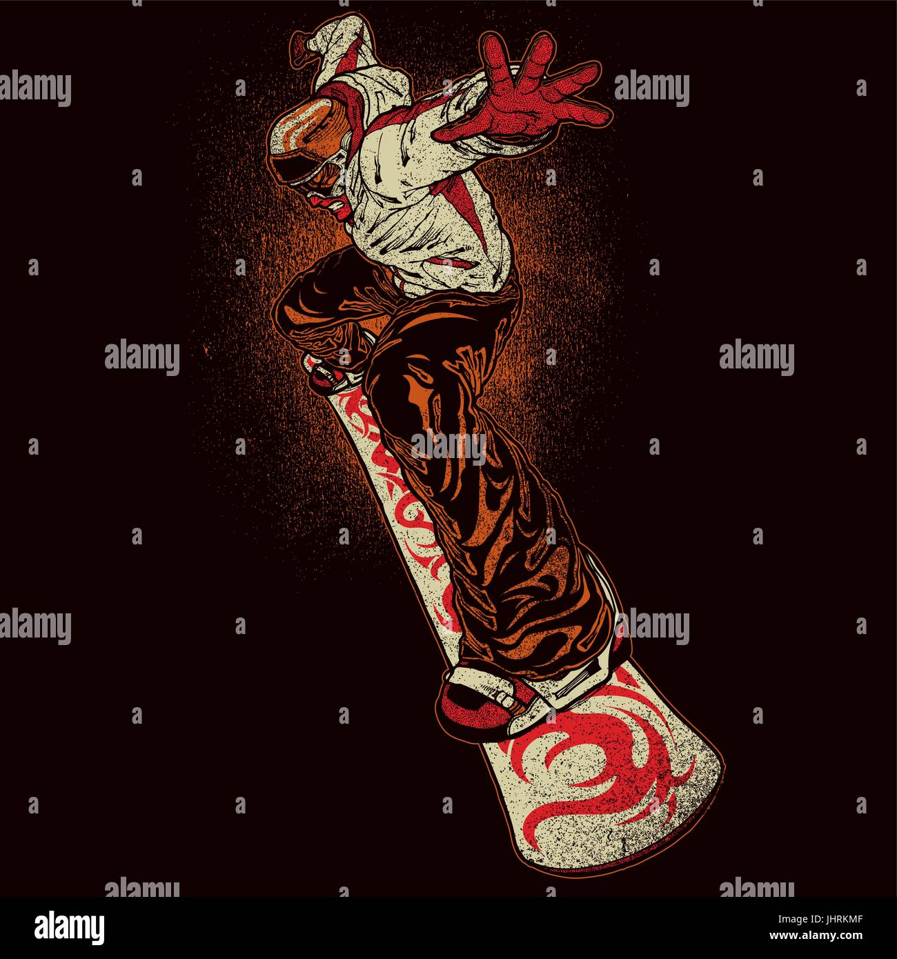 Illustration of angry snowboarder on dark background Stock Vector