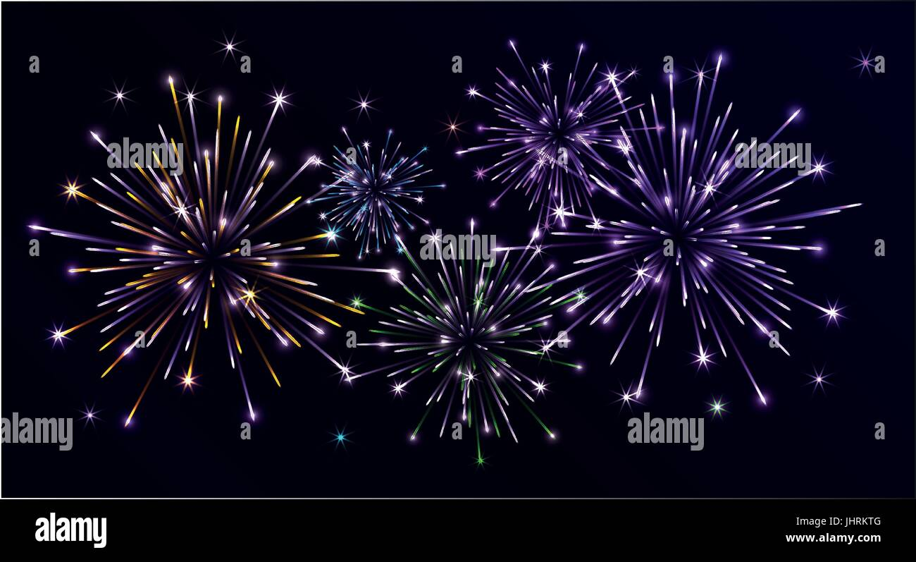 Bright colorful fireworks in the night sky - Stock Vector