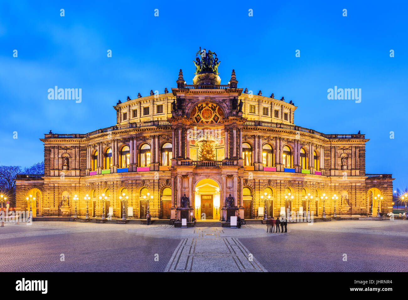 Dresden, Germany. The Semperoper - The Opera House of the Saxon State. - Stock Image