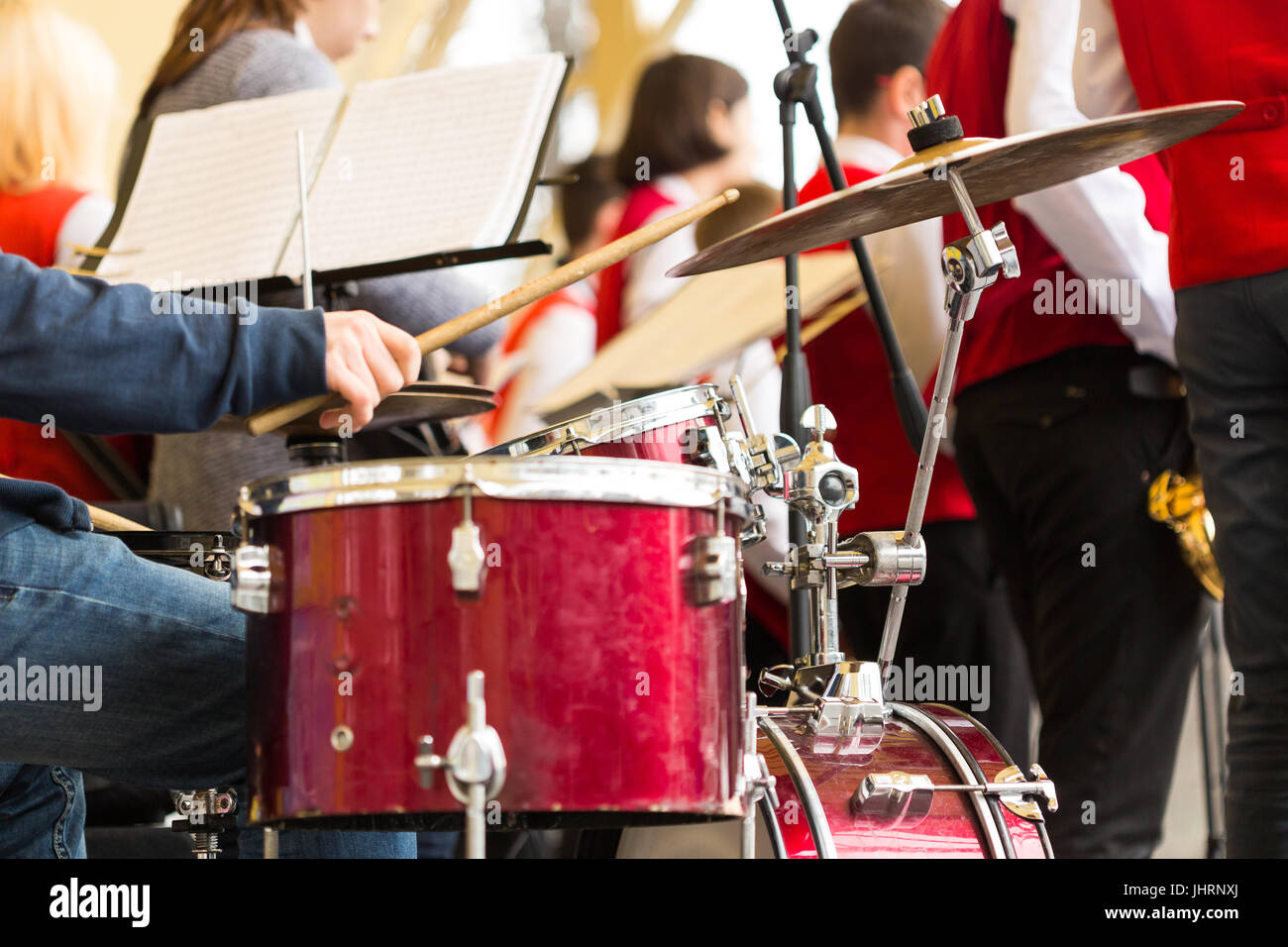 Drum Set Music And Jazz Band Concept Closeup On Hands Of Musician