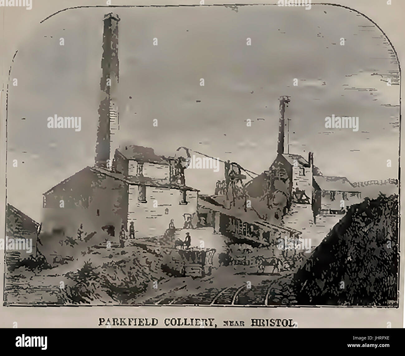 A wash illustration of former Parkfield colliery Bristol, UK - Stock Image
