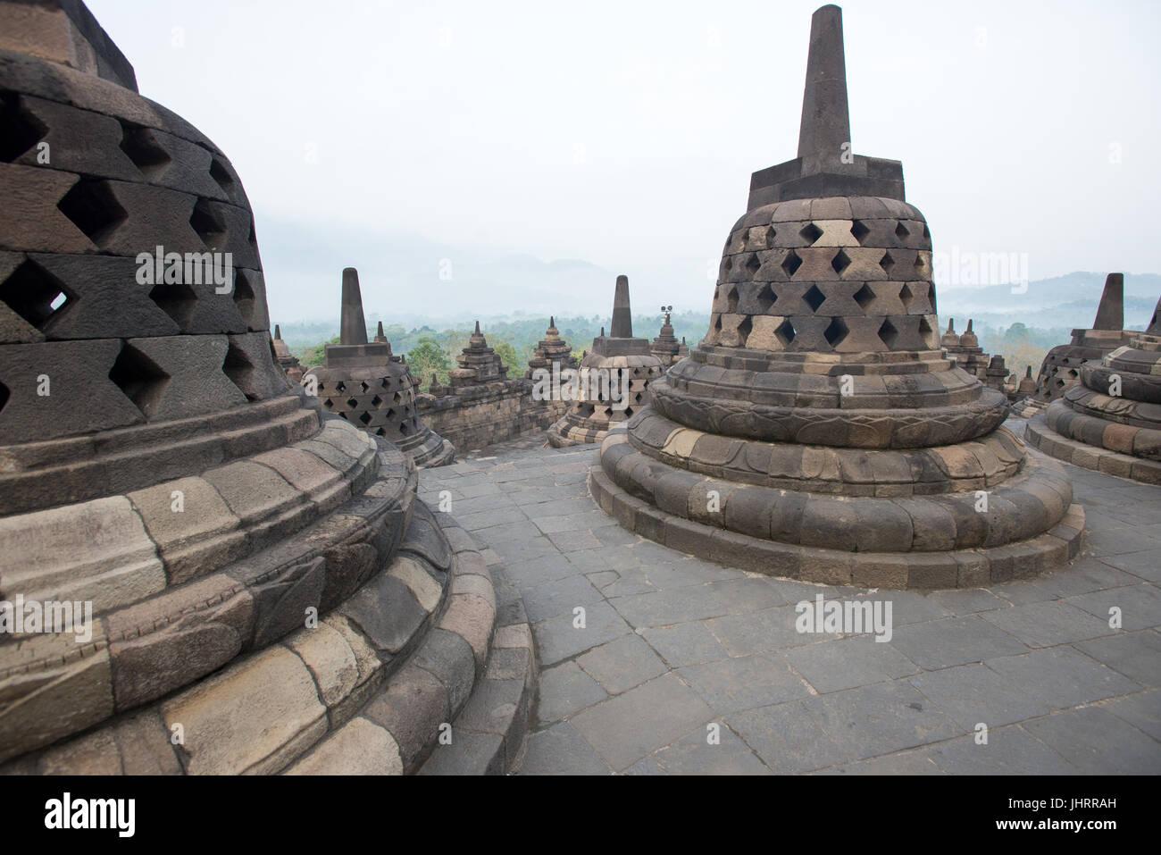 Sea of Immortality terrace of Borobudur Temple Java Indonesia. - Stock Image