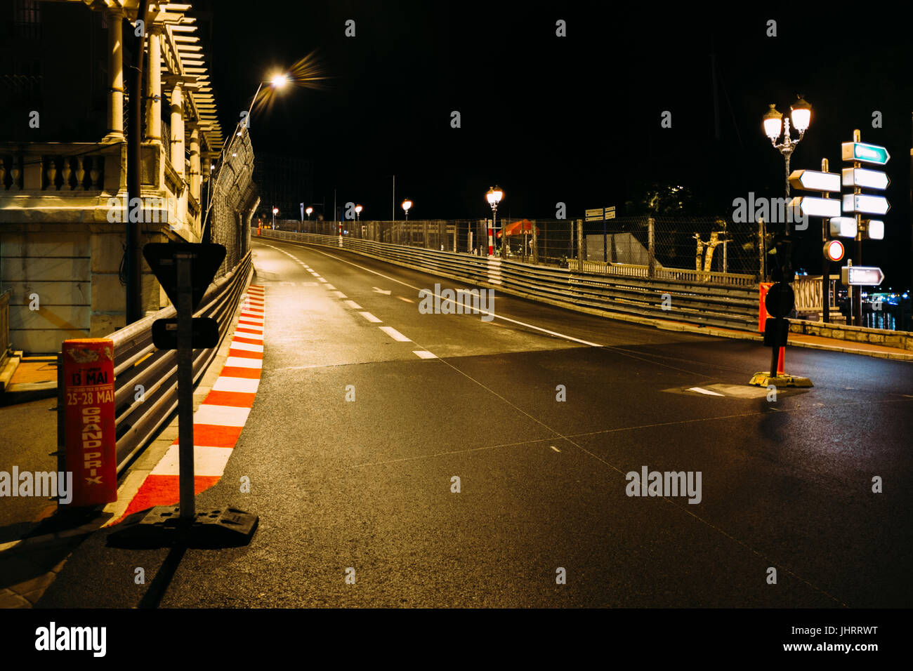 The streets of Monte Carlo, the night before the big Formula 1 race. - Stock Image