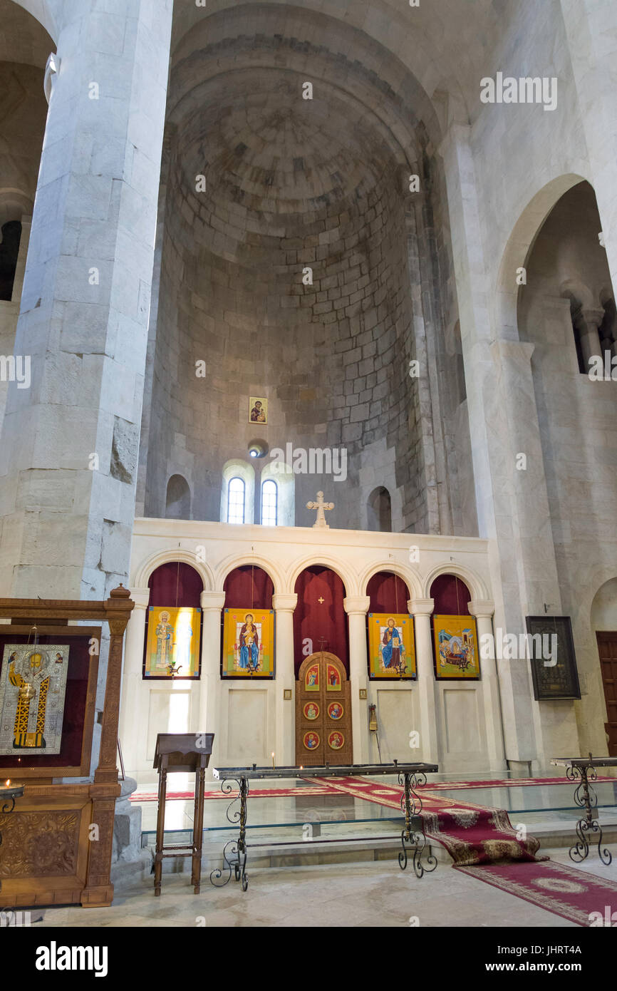 Interior Apse and Altar in Cathedral of the Nativity of the Virgin, Gelati Monastery, Kutaisi, Imereti Province Stock Photo