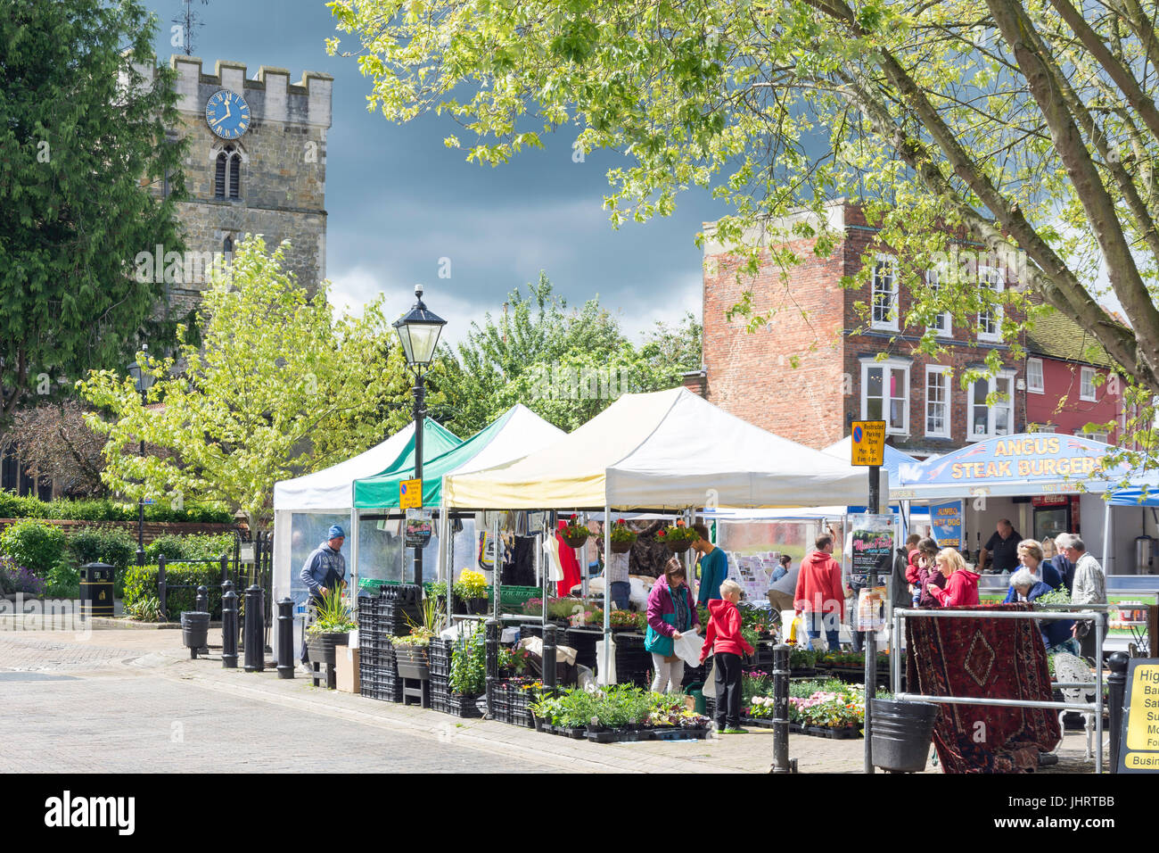 Hampshire Farmers' Market in The Square, Petersfield, Hampshire, England, United Kingdom - Stock Image