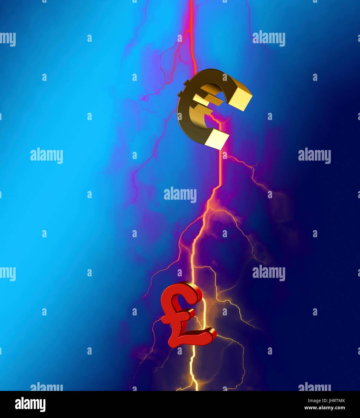 Euro Hits British Pound Sign With Lightning Bolt Symbolic Image Of