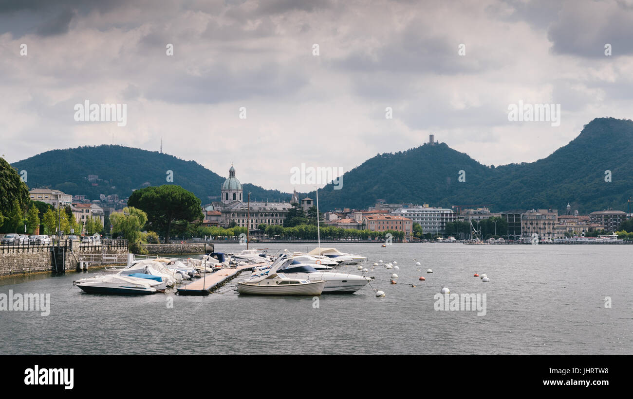 View of the town of Como, Lake Como, Lombardy, Italian Lakes, Italy, Europe - Stock Image