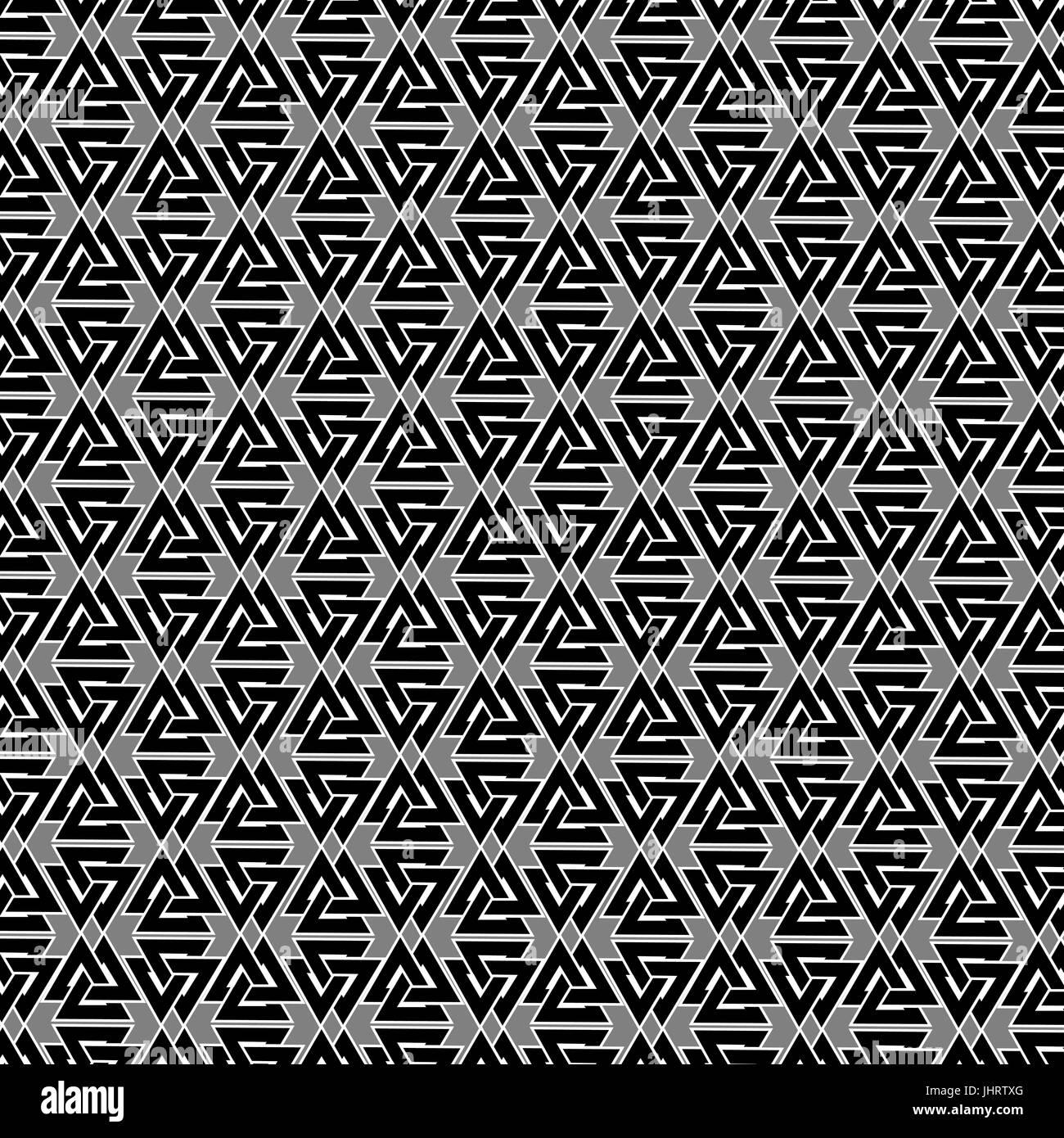 Valknut vector pattern, Valknut black and white background - Stock Vector