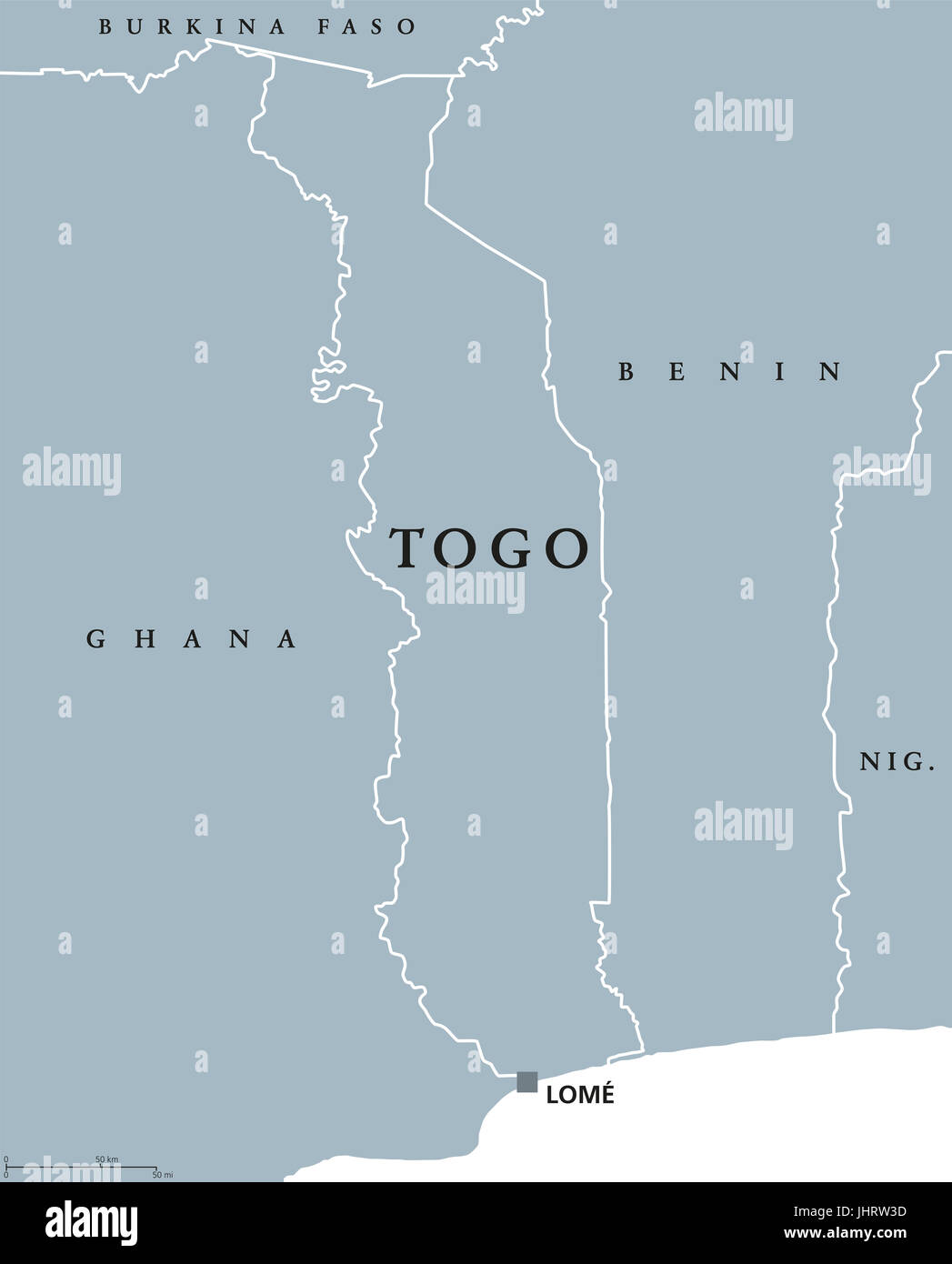 Togo political map with capital Lom and international borders Stock