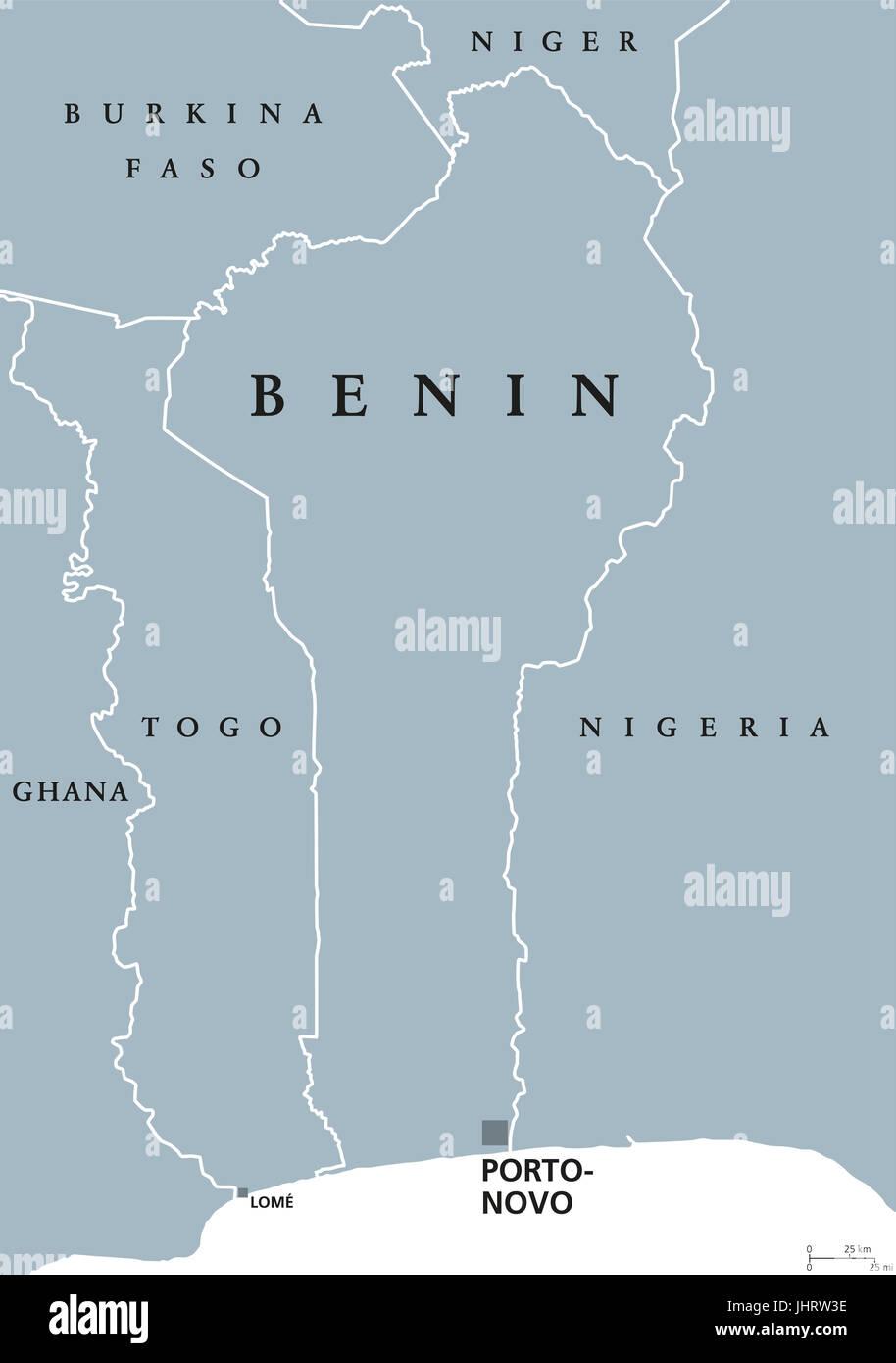 Benin political map with capital Porto-Novo. Formerly Dahomey,a ...