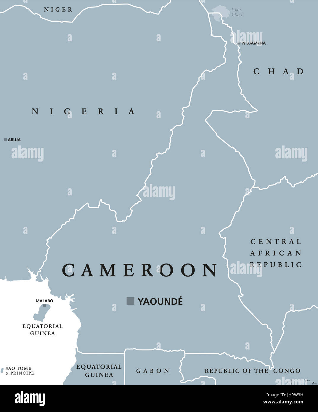 Cameroon political map with capital Yaoundé, international borders and neighbors. Republic and country in Central - Stock Image