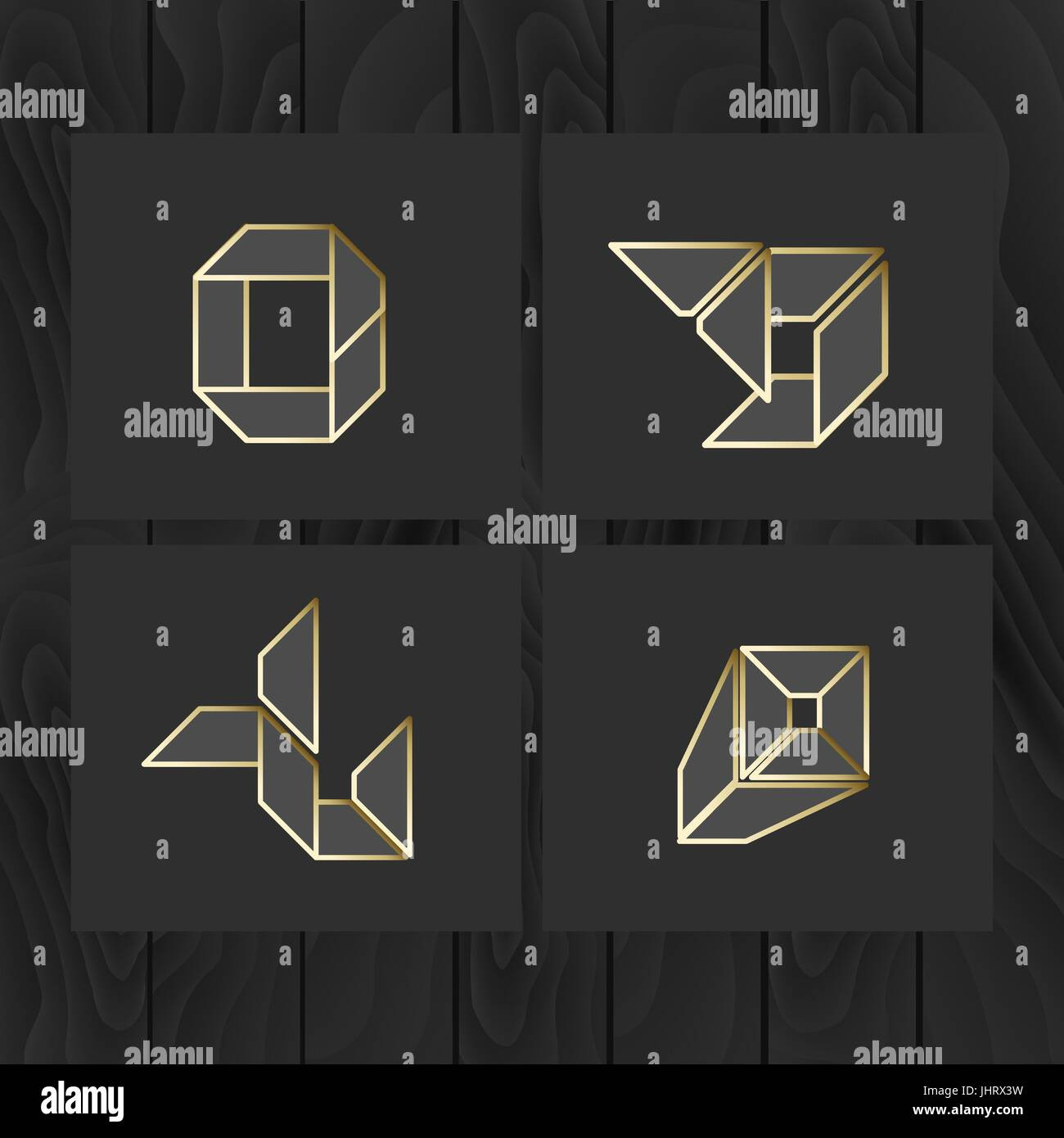 Set of symbol and shapes. Trendy icons and logotypes. Business signs symbols, labels, badges, frames and borders - Stock Vector