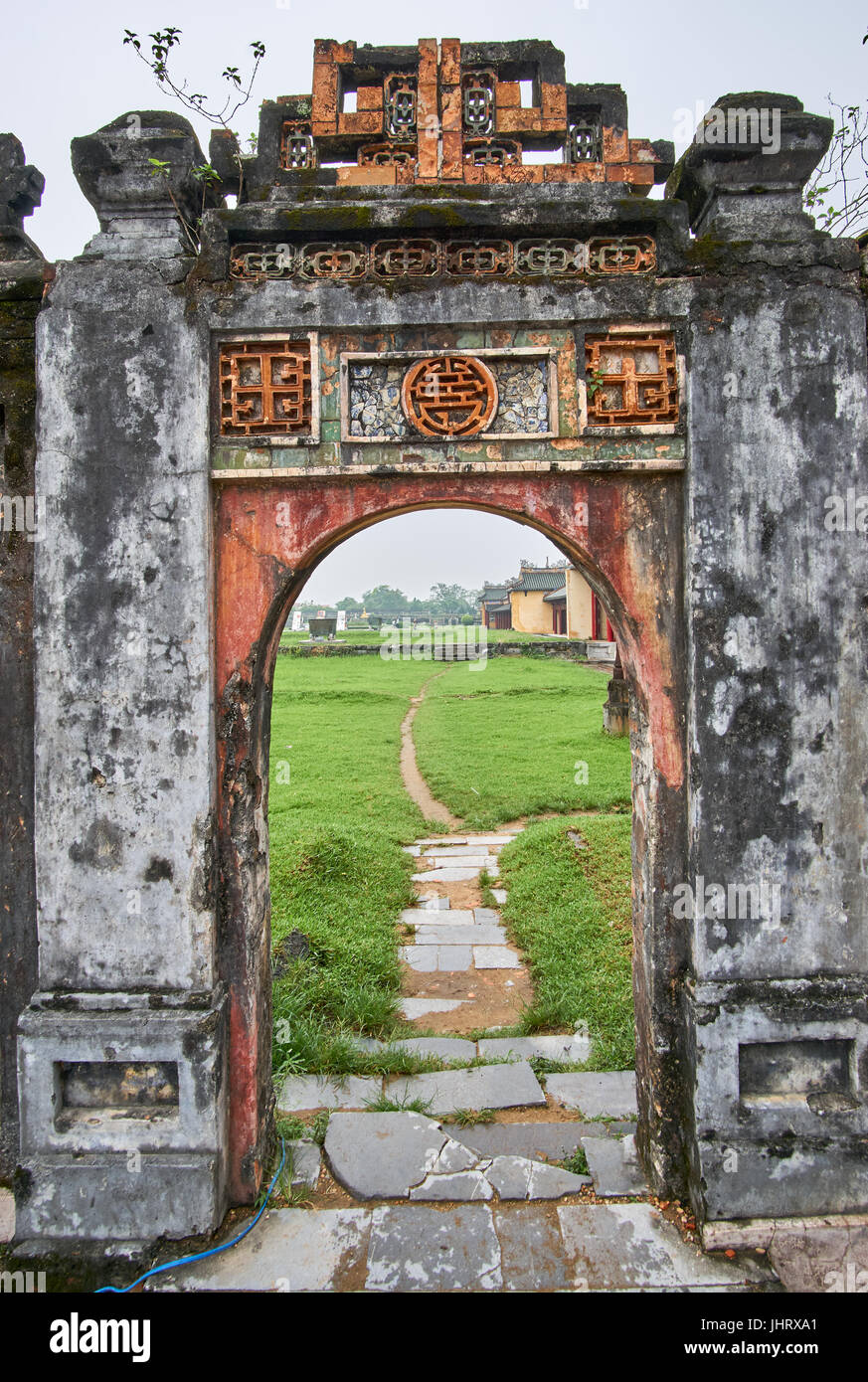 Traditional vietnamese entrance door in the imperial city Hue Vietnam on a foggy day. & Traditional vietnamese entrance door in the imperial city Hue Stock ...