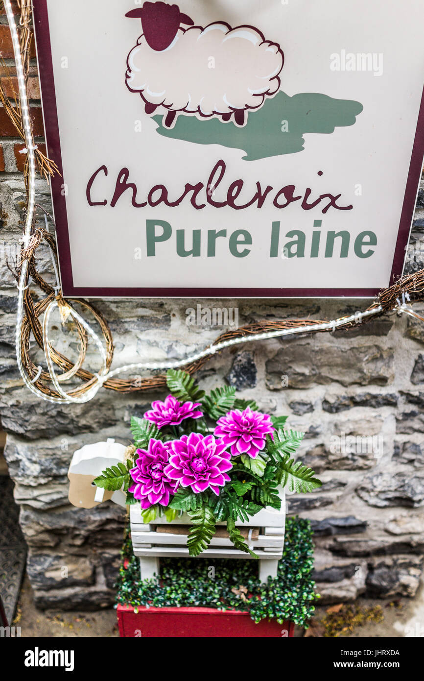 Quebec City, Canada - May 30, 2017: Lower old town street called Rue du Petit Champlain with entrance sign to Charlevoix - Stock Image