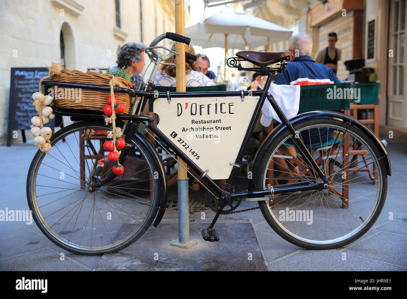 Trendy D'Office restaurant on Archbishop Street in Valletta, capital of Malta - Stock Image