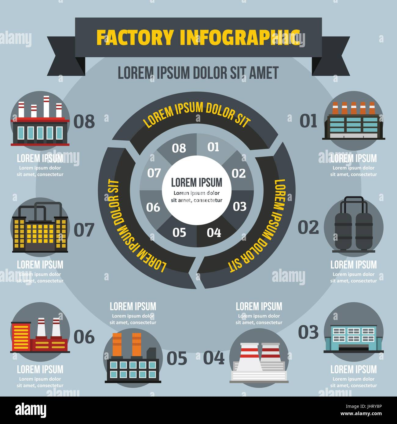 Factory infographic concept, flat style - Stock Image