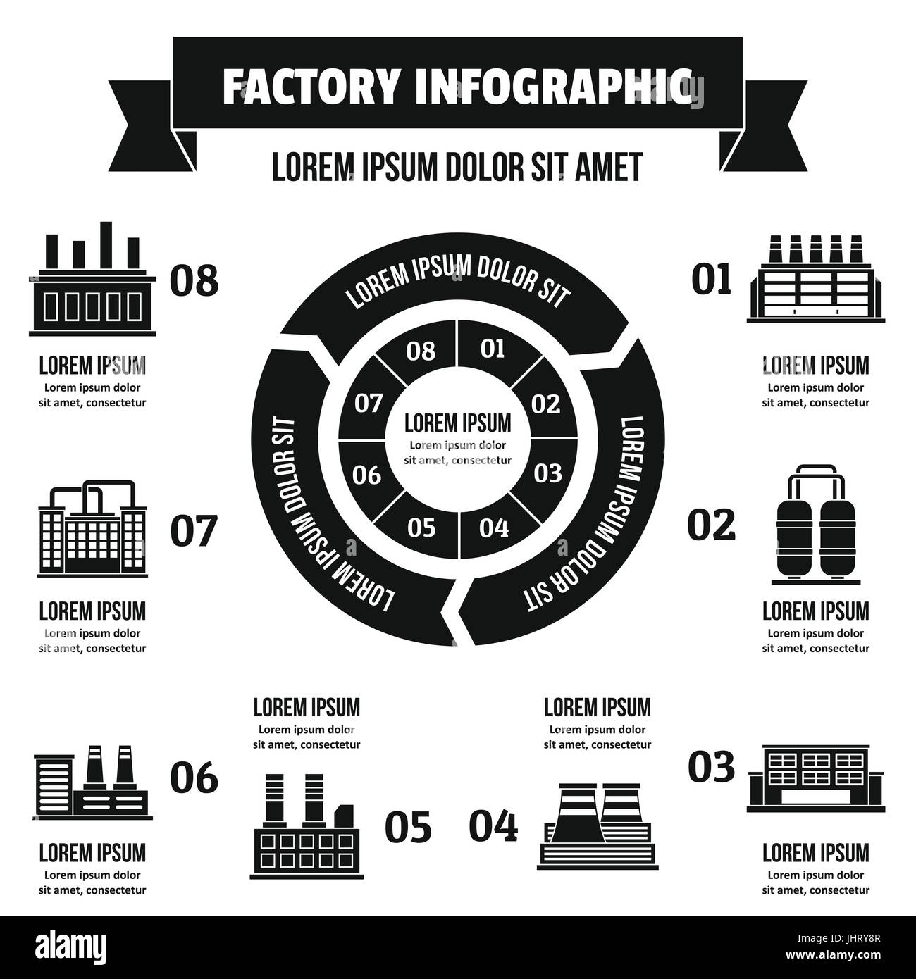 Factory infographic concept, simple style - Stock Image