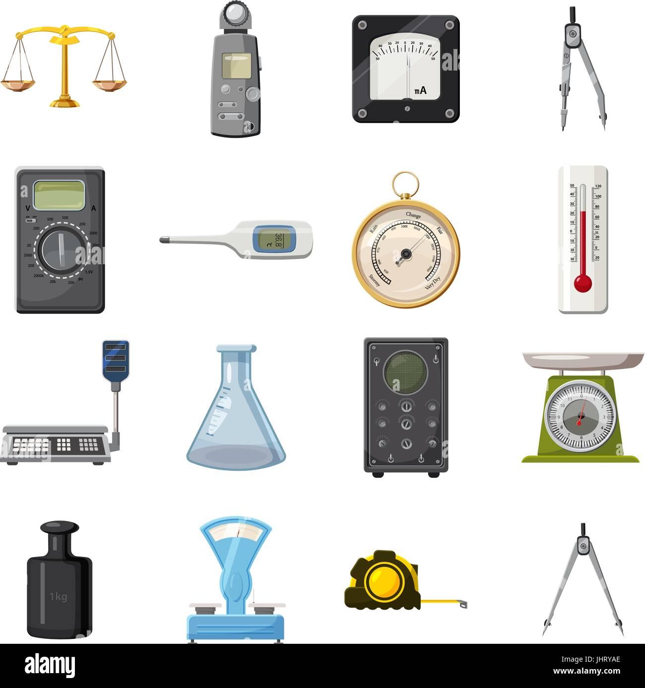 Measure precision tools icons set, cartoon style - Stock Image