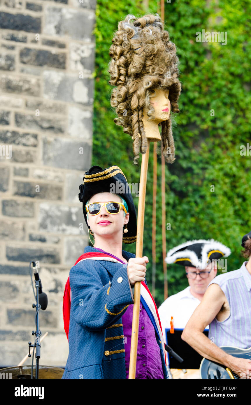 Philadelphia, USA. 15th July, 2017. A performer walks on stage with the severed head of an aristocrat. Credit: Christopher - Stock Image
