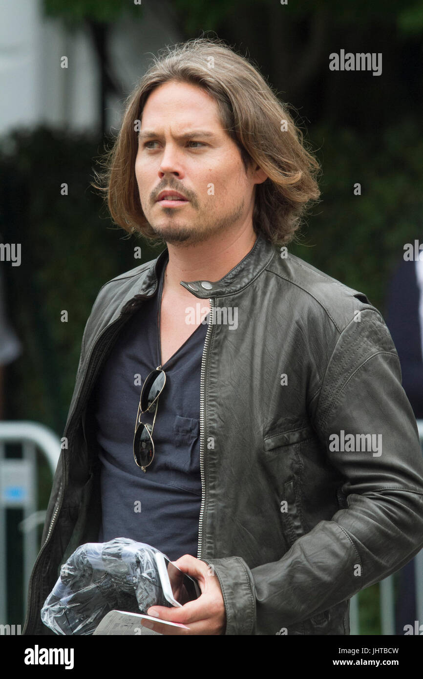 London UK. 16th July 2017. A spectator with a strong resemblance of American actor Johnny Depp arrives at the All - Stock Image
