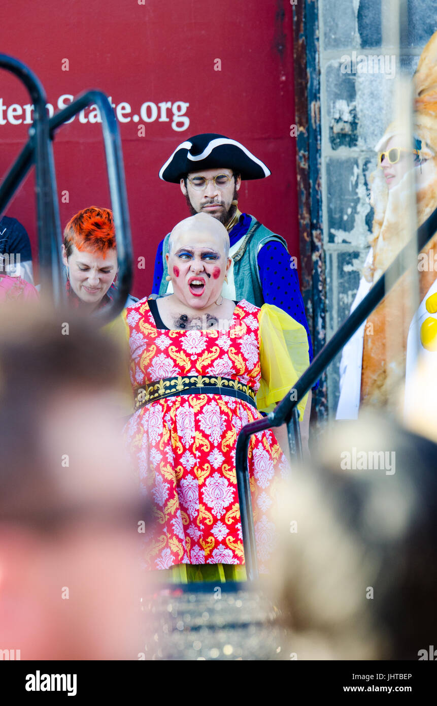 Philadelphia, USA. 15th July, 2017. Mary Antoinette (Terry McNally) is led to the guillotine. Credit: Christopher - Stock Image