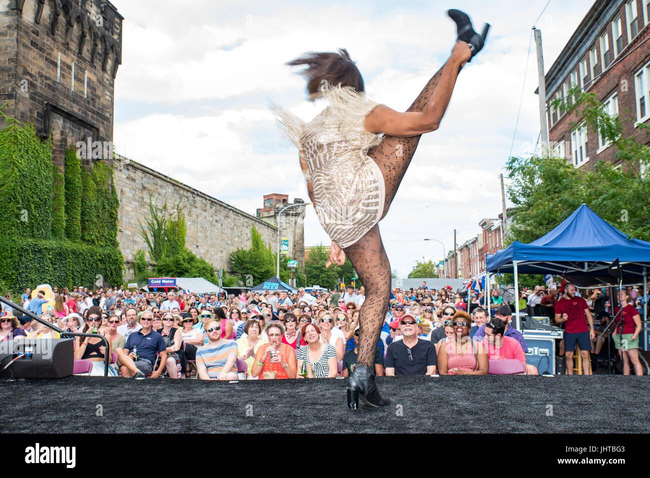 Philadelphia, USA. 15th July, 2017. The Bearded Ladies Bastille Day Cabaret. Credit: Christopher Evens/Alamy Live - Stock Image