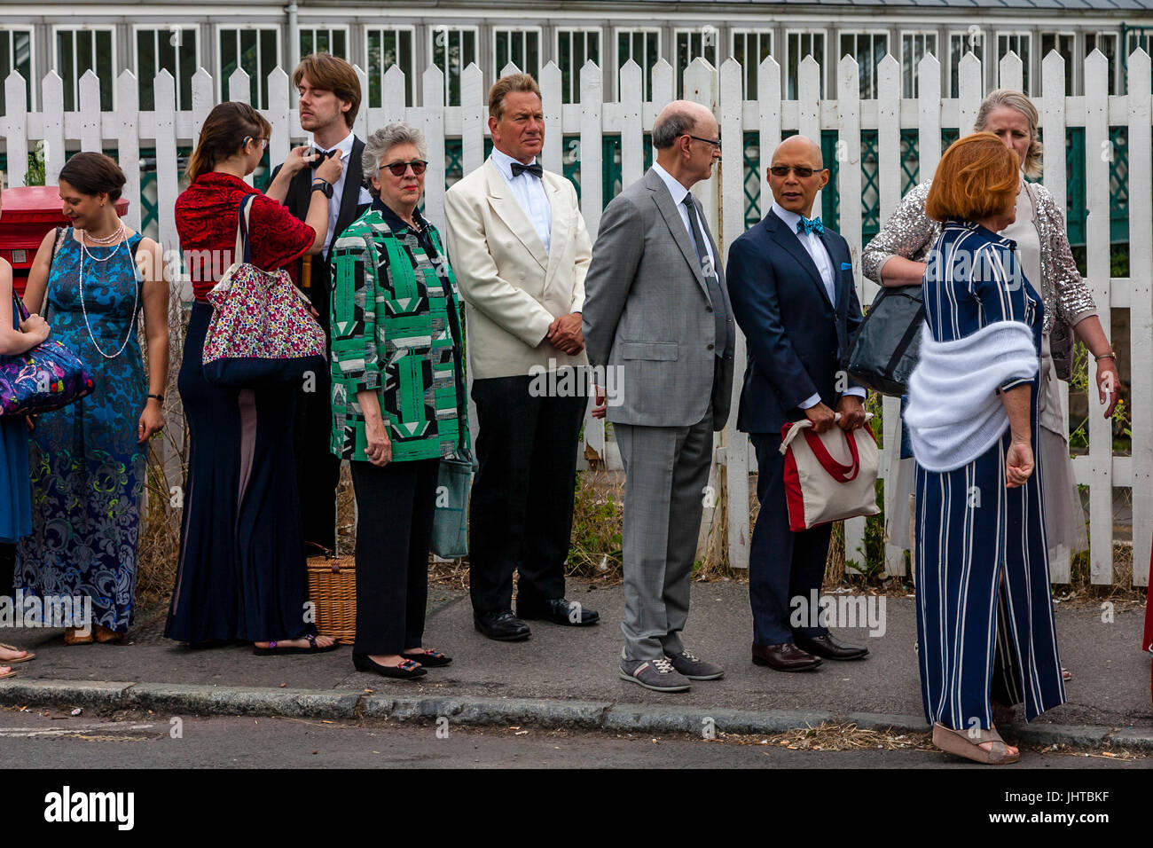Lewes, UK.  16 July 2017 Television personality and former MP Michael Portillo arrives at Lewes Station enroute - Stock Image