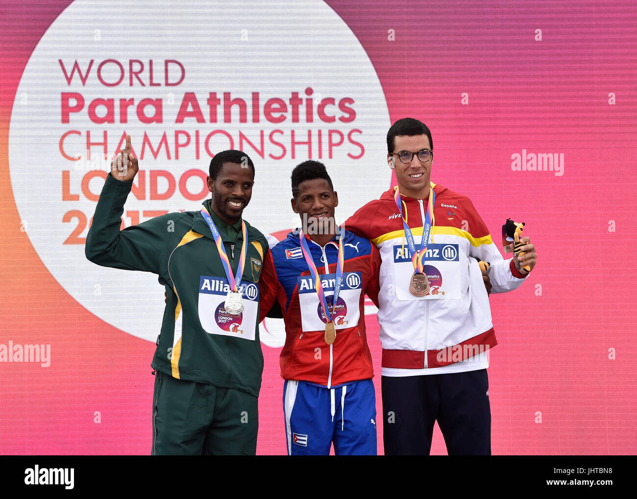 London, UK. 16th July, 2017. at Victory Ceremonies during World Para Athletics, Championships London 2017,  at London - Stock Image