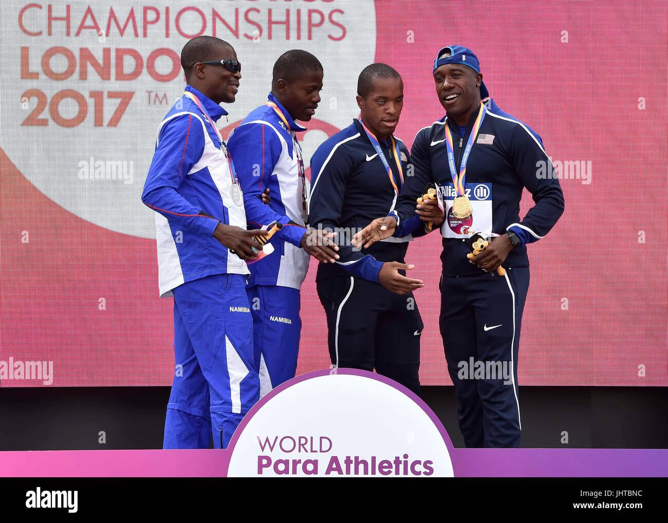 London, UK. 16th July, 2017. at Victory Ceremonies during World Para Athletics, Championships London 2017,  at London - Stock Image