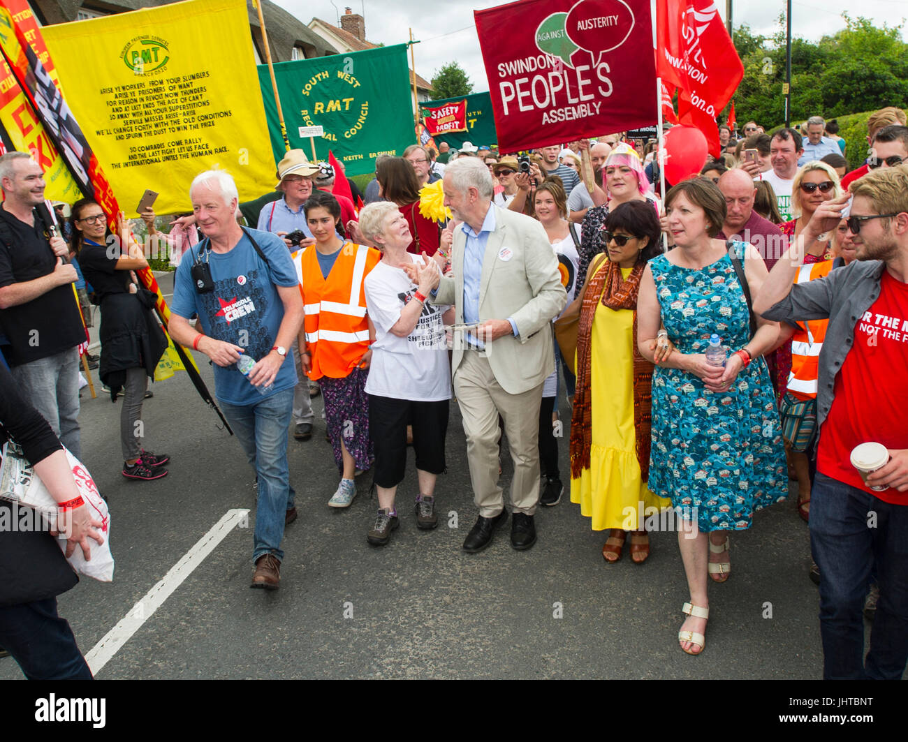 Tolpuddle, Dorset, UK. 16 July 2017. Jeremy Corbyn the Labour Party leader with supporters during the annual Tolpuddle - Stock Image