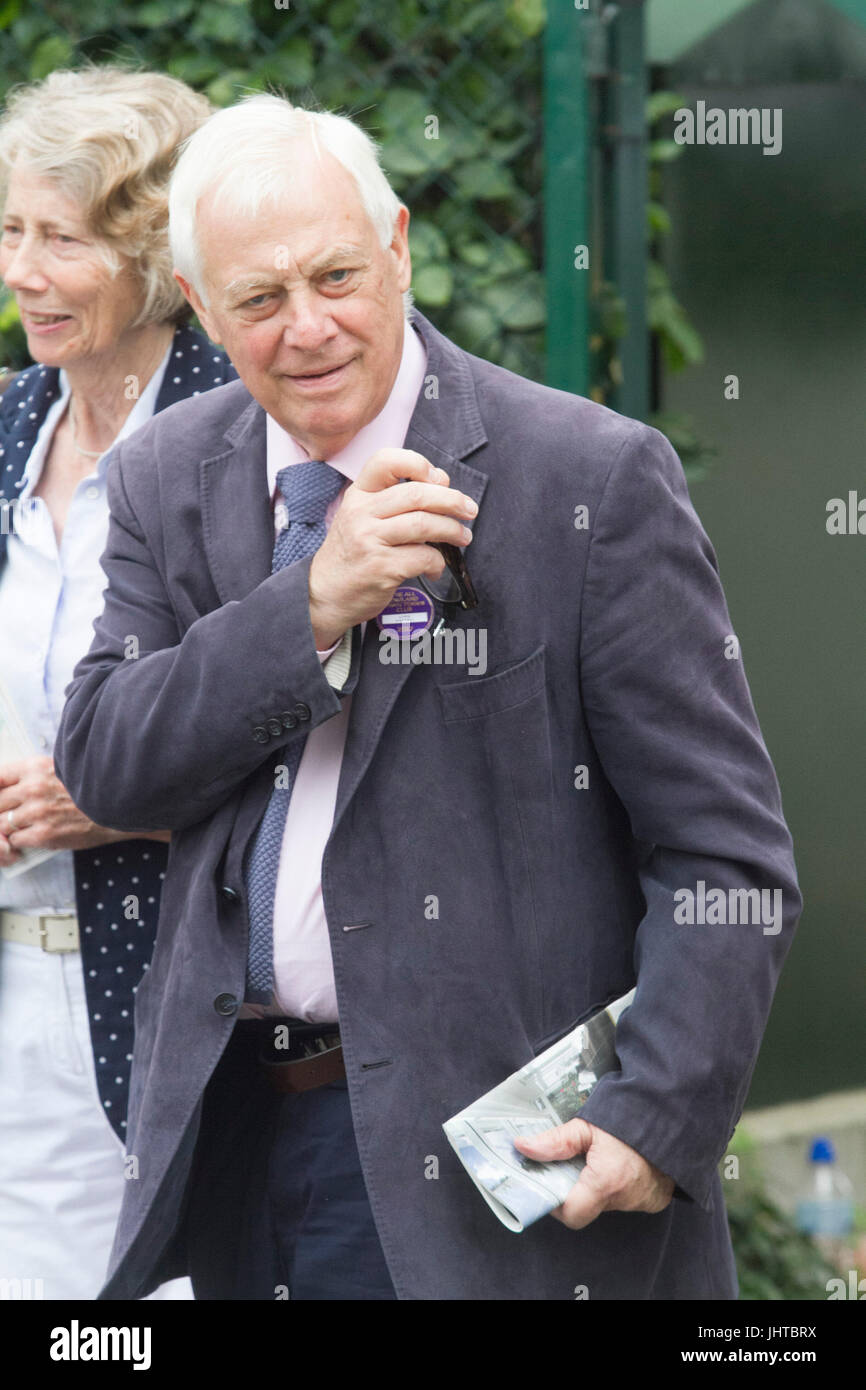 London UK. 16th July 2017. The former and last governor of the British colony Hong Kong in 1997 Chris Patten arrives - Stock Image