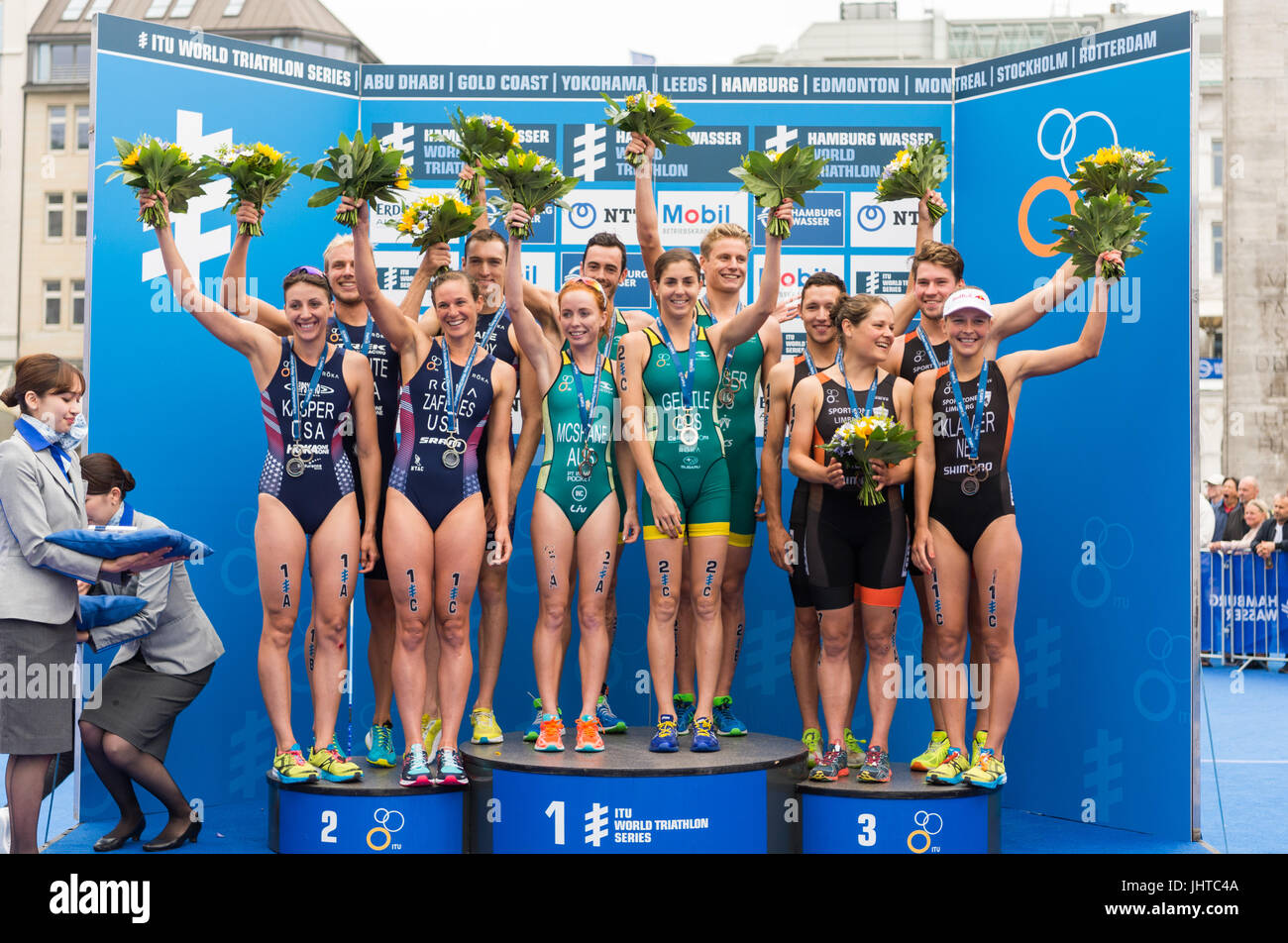 Hamburg, Germany. 16th July, 2017. Australian team: Charlotte McShane, Ashleigh Gentle, Matthew Hauser, Jacob Birtwhistle Stock Photo