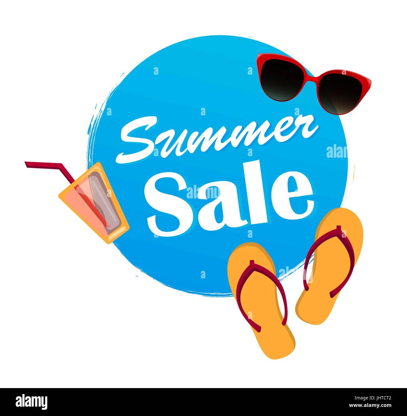 19a82a9c87cf Summer sale banner in blue color. Flip flops