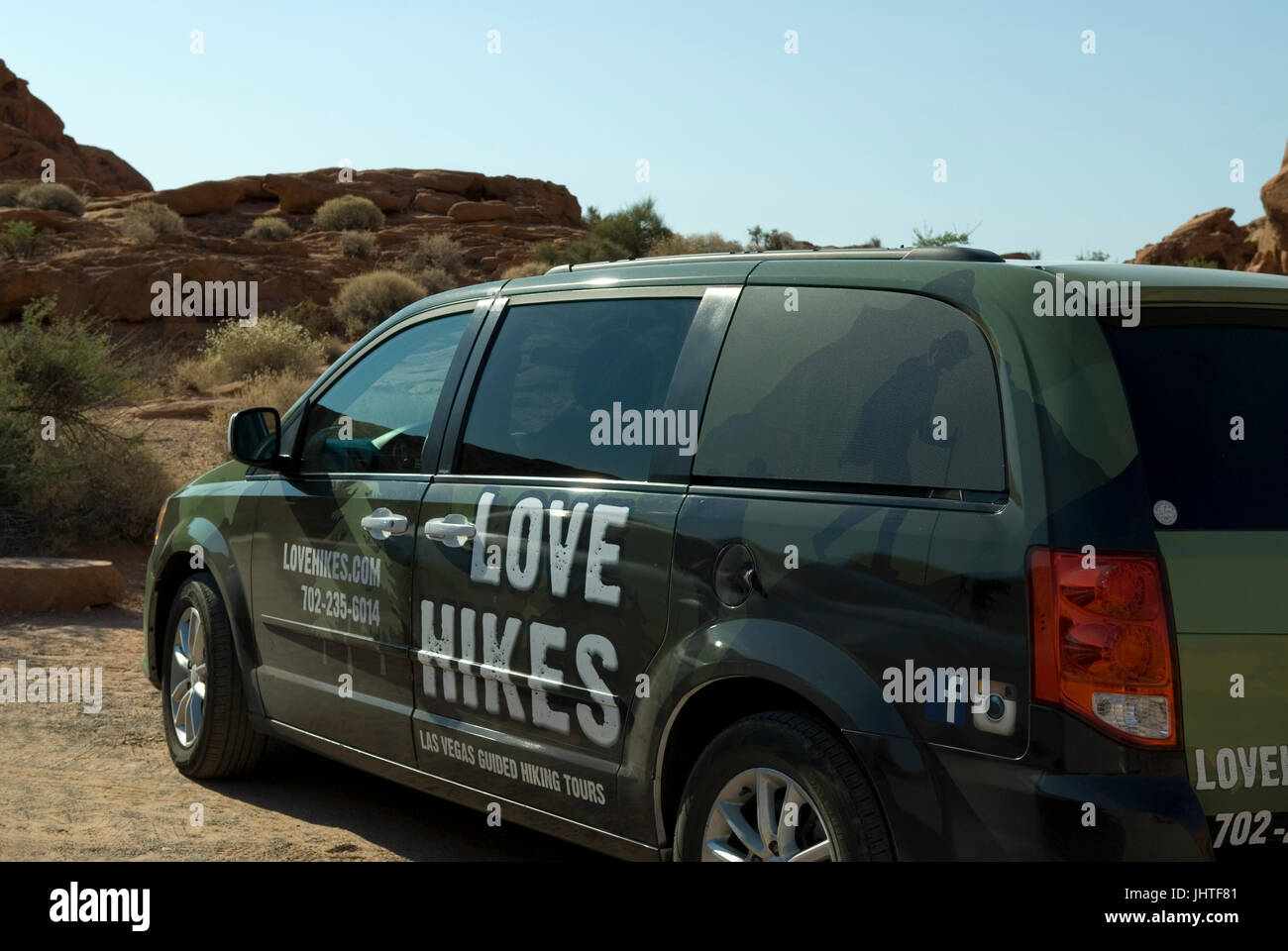 Stock photo of Love Hikes Walking Tour Van near Las Vegas, Nevada, USA. - Stock Image