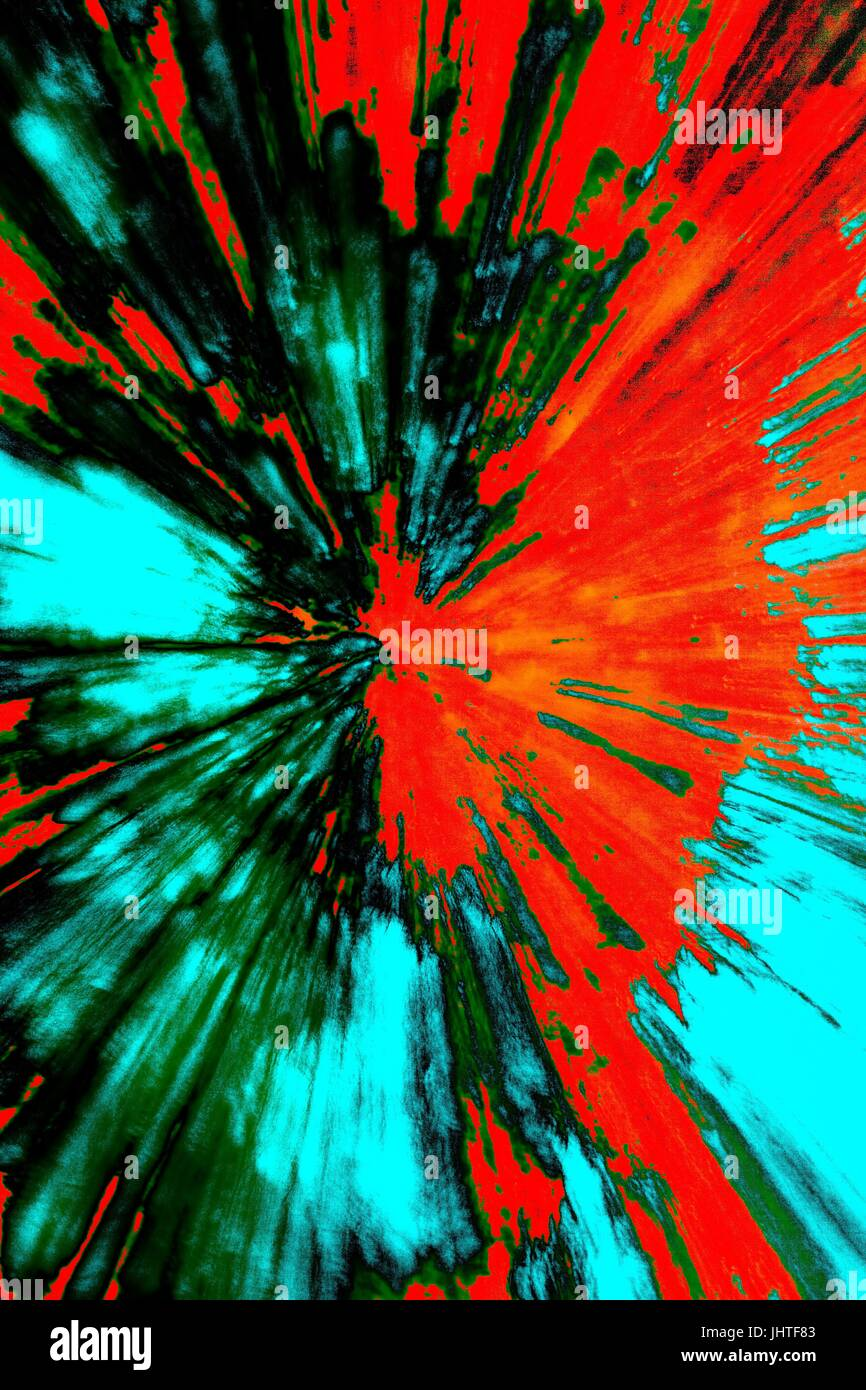 Creative abstract artistic background reminding of a burst full of dynamics and colour - Stock Image