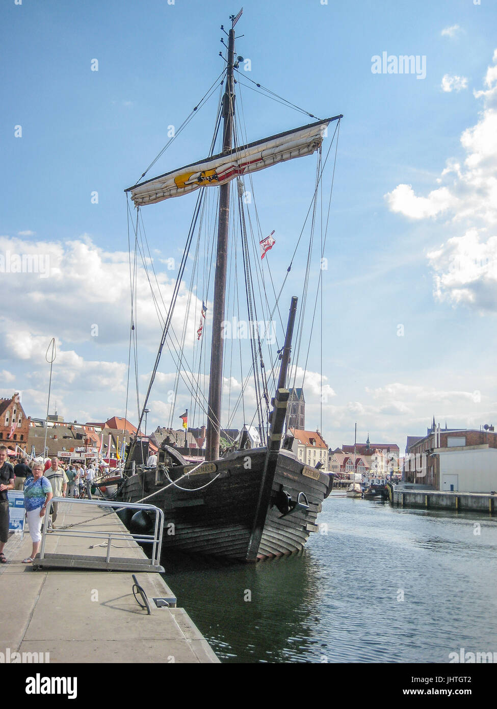 A replika of a medieval ship in Wismar Germany - Stock Image
